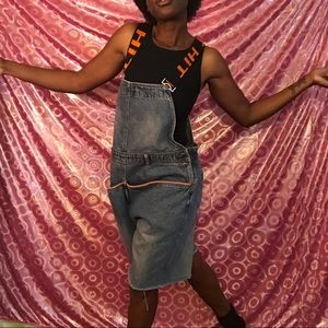 Vintage cutoff overalls XL unisex romper jumpsuit